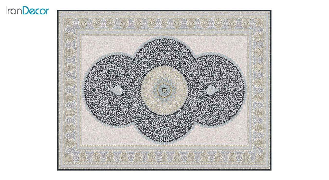تصویر فرش ماشینی 1200 شانه گل برجسته کشمیر طرح الماس زغالی