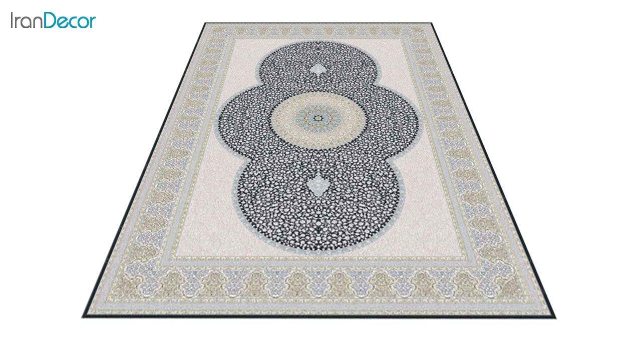 عکس فرش ماشینی 1200 شانه گل برجسته کشمیر طرح الماس زغالی