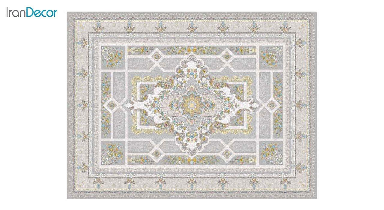تصویر فرش ماشینی 1200 شانه گل برجسته کشمیر طرح خزان نقره ای