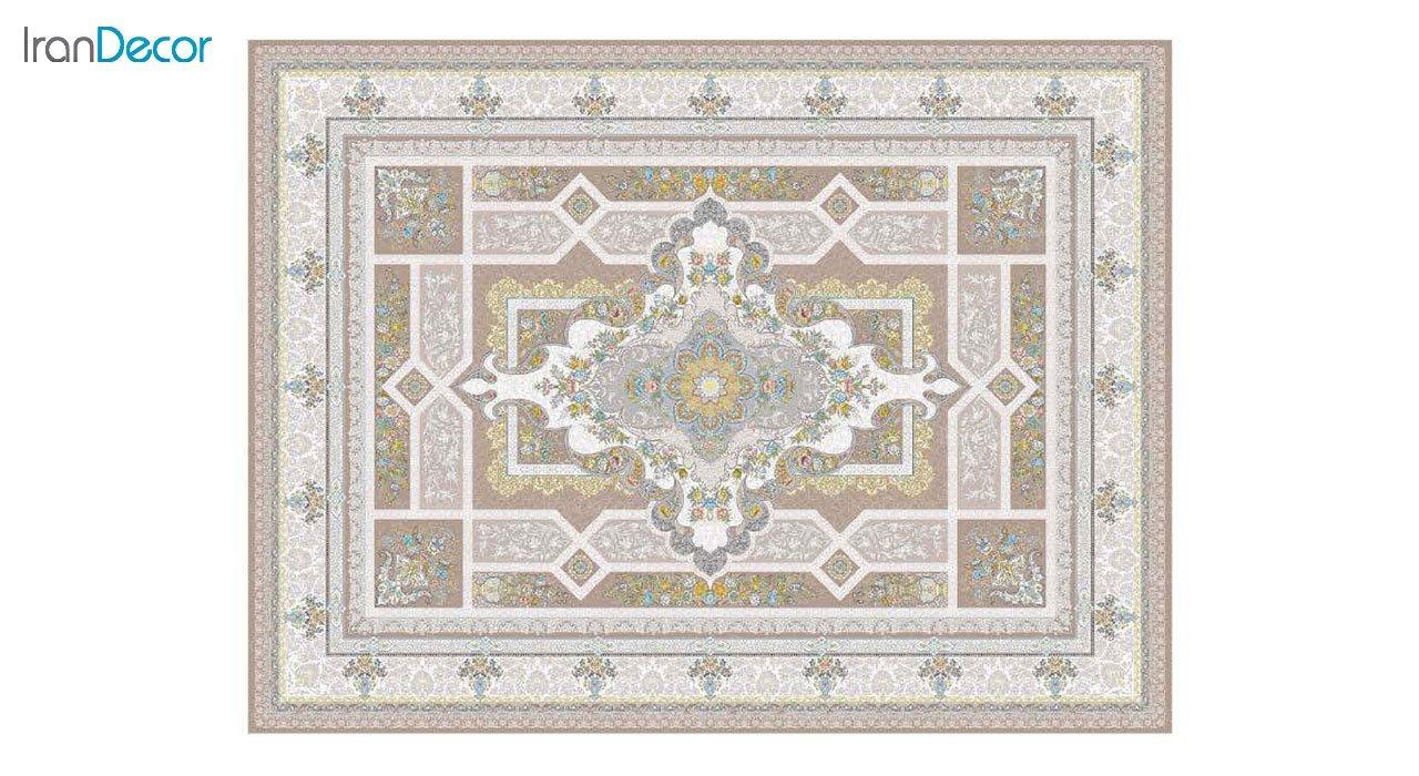 تصویر فرش ماشینی 1200 شانه گل برجسته کشمیر طرح خزان نسکافه ای