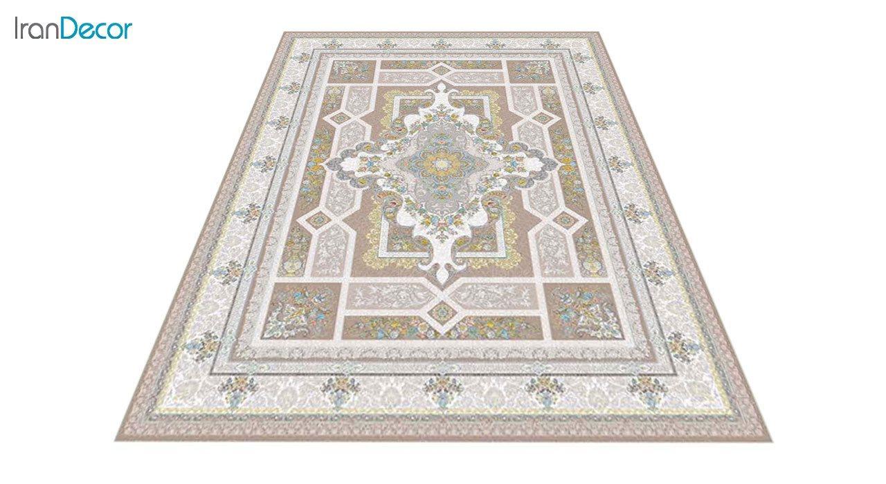 عکس فرش ماشینی 1200 شانه گل برجسته کشمیر طرح خزان نسکافه ای