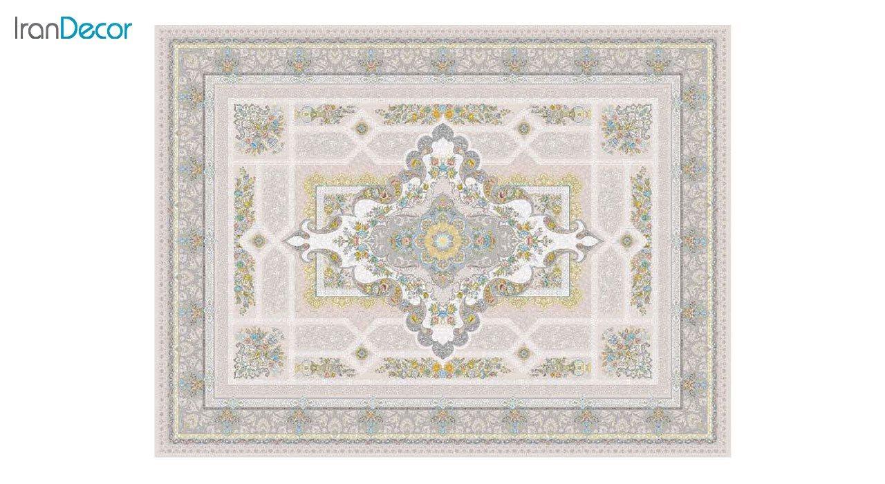 تصویر فرش ماشینی 1200 شانه گل برجسته کشمیر طرح خزان بژ