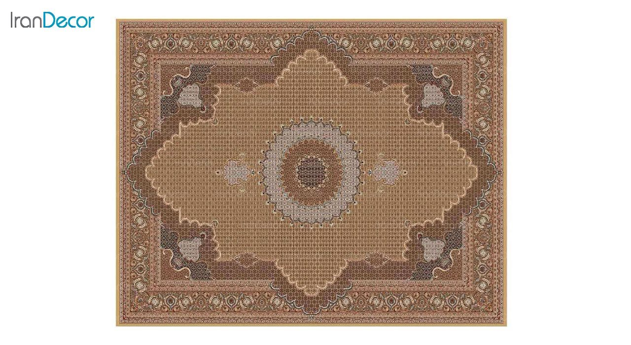 تصویر فرش ماشینی 700 شانه کشمیر طرح ریزماهی خوی بژ