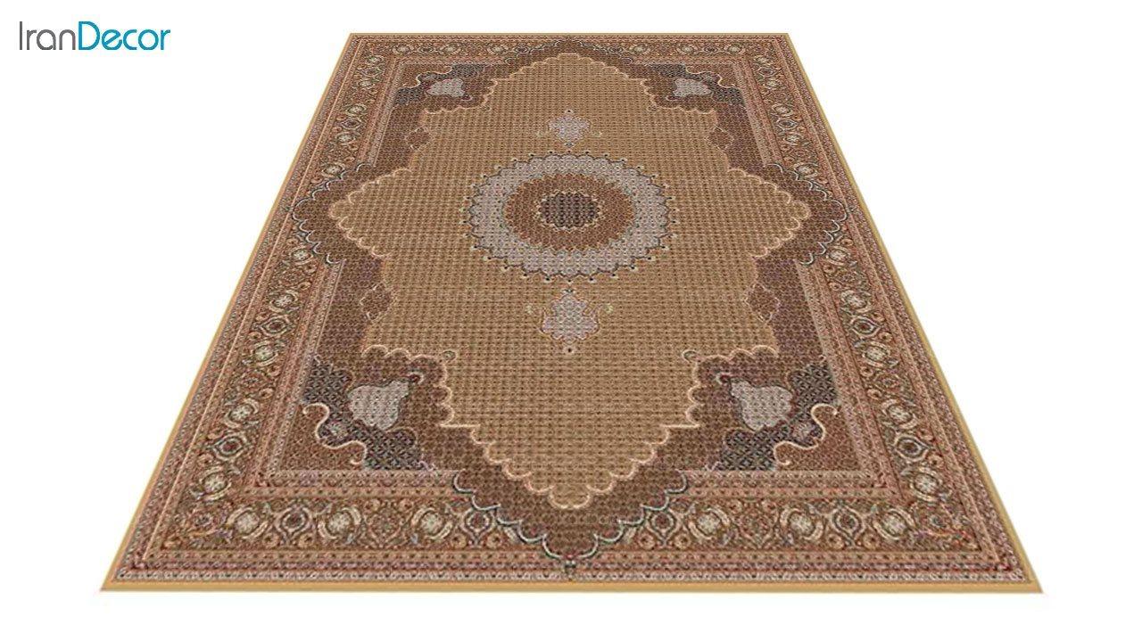 عکس فرش ماشینی 700 شانه کشمیر طرح ریزماهی خوی بژ