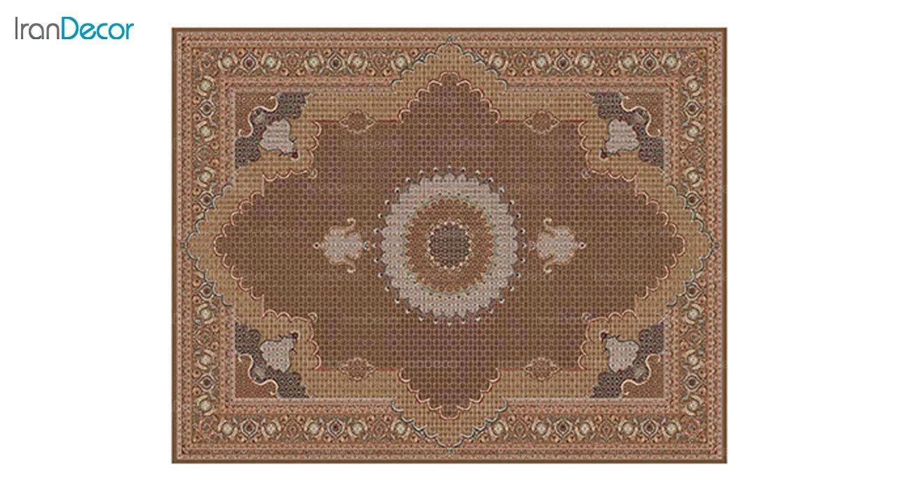 تصویر فرش ماشینی 700 شانه کشمیر طرح ریزماهی خوی قهوه ای
