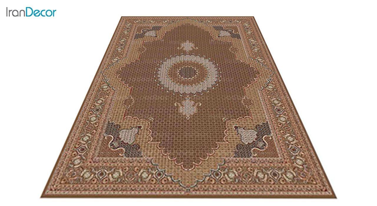عکس فرش ماشینی 700 شانه کشمیر طرح ریزماهی خوی قهوه ای