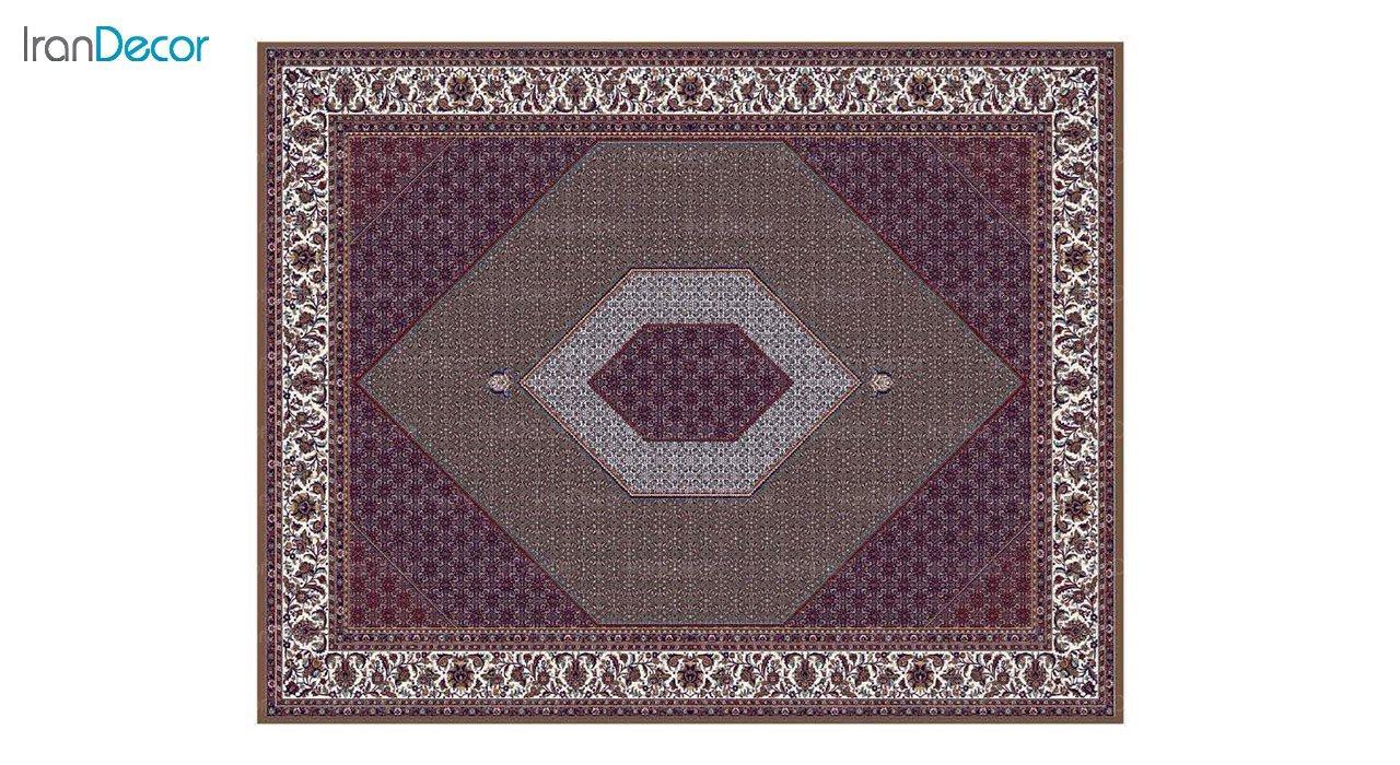 تصویر فرش ماشینی 700 شانه کشمیر طرح بیجار تکاب قهوه ای