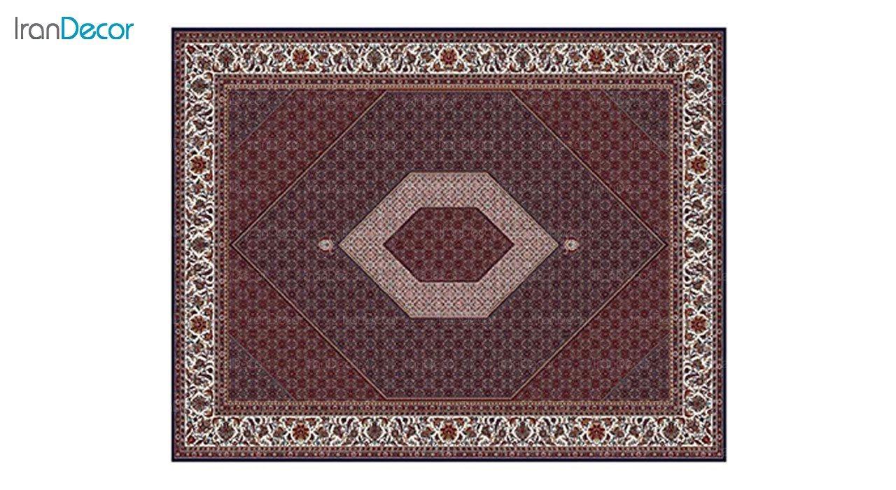 تصویر فرش ماشینی 700 شانه کشمیر طرح بیجار تکاب آبی