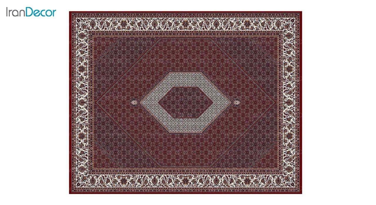 تصویر فرش ماشینی 700 شانه کشمیر طرح بیجار تکاب قرمز