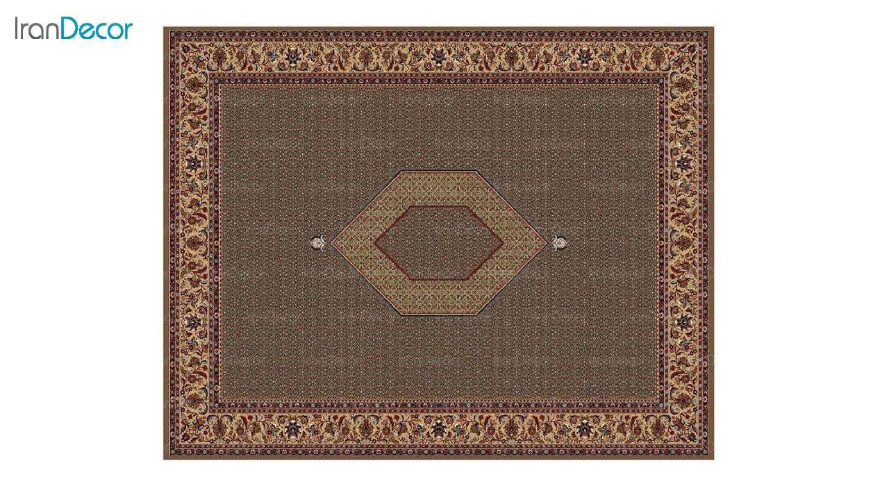 تصویر فرش ماشینی 700 شانه کشمیر طرح تکاب ساده ترنج قهوه ای