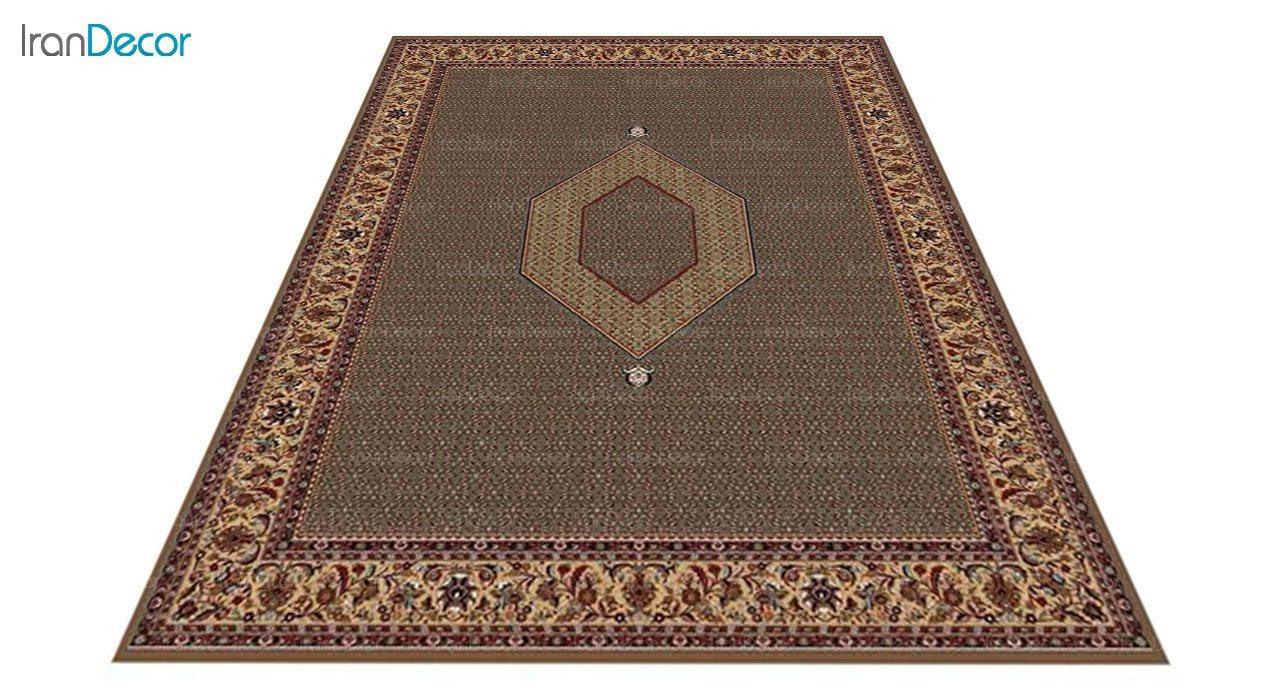 عکس فرش ماشینی 700 شانه کشمیر طرح تکاب ساده ترنج قهوه ای