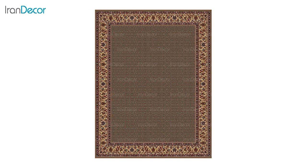 تصویر فرش ماشینی 700 شانه کشمیر طرح تکاب ساده قهوه ای