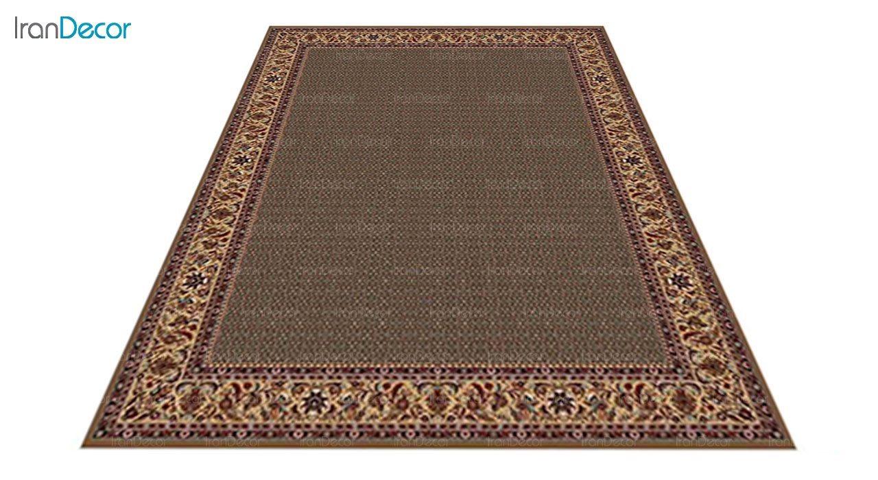 عکس فرش ماشینی 700 شانه کشمیر طرح تکاب ساده قهوه ای
