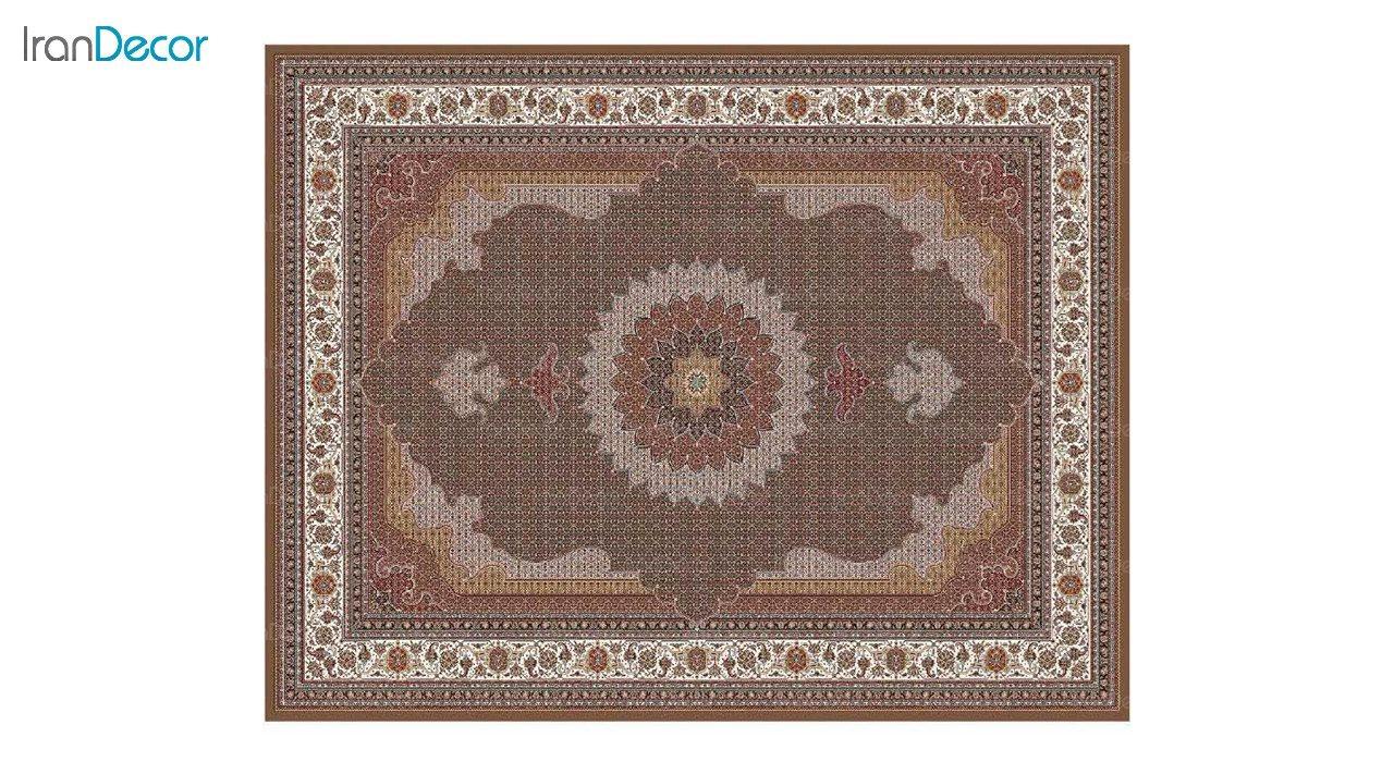 تصویر فرش ماشینی 700 شانه کشمیر طرح ریزماهی اصیل قهوه ای
