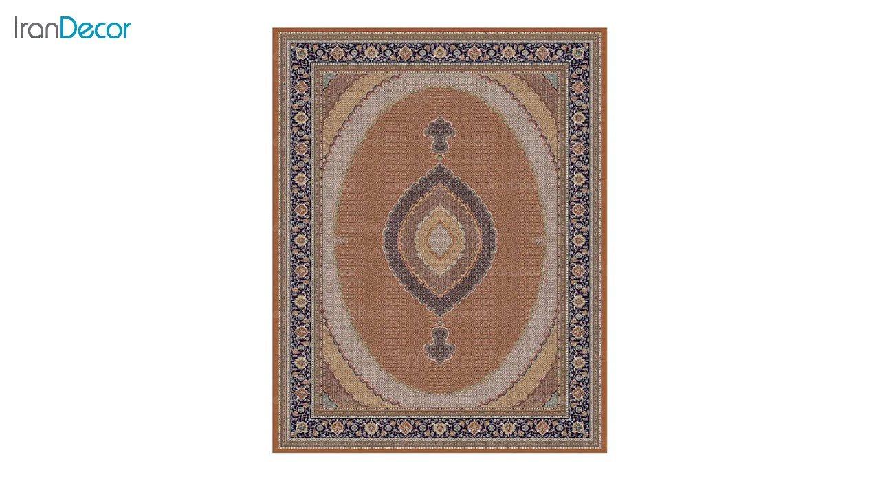 تصویر فرش ماشینی 700 شانه کشمیر طرح سلطان صورتی آبی