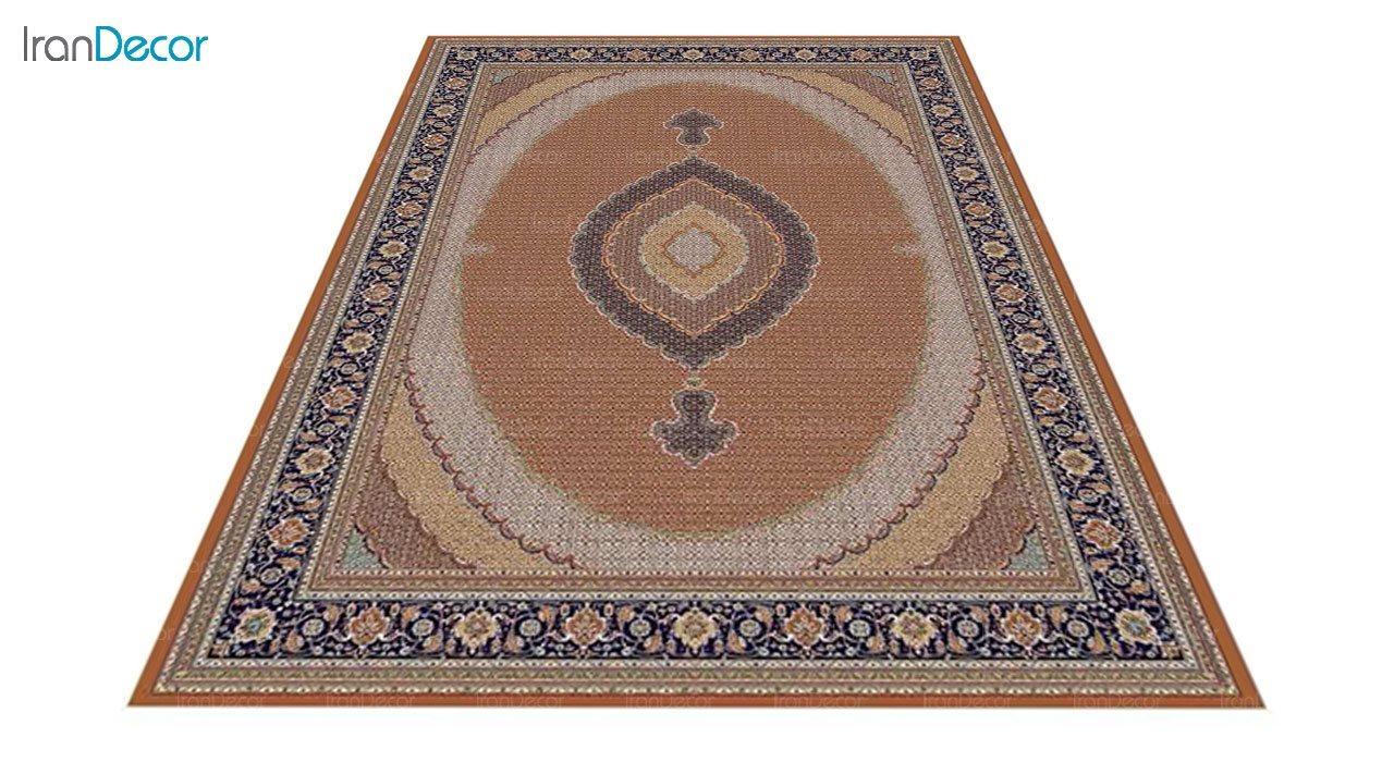 عکس فرش ماشینی 700 شانه کشمیر طرح سلطان صورتی آبی