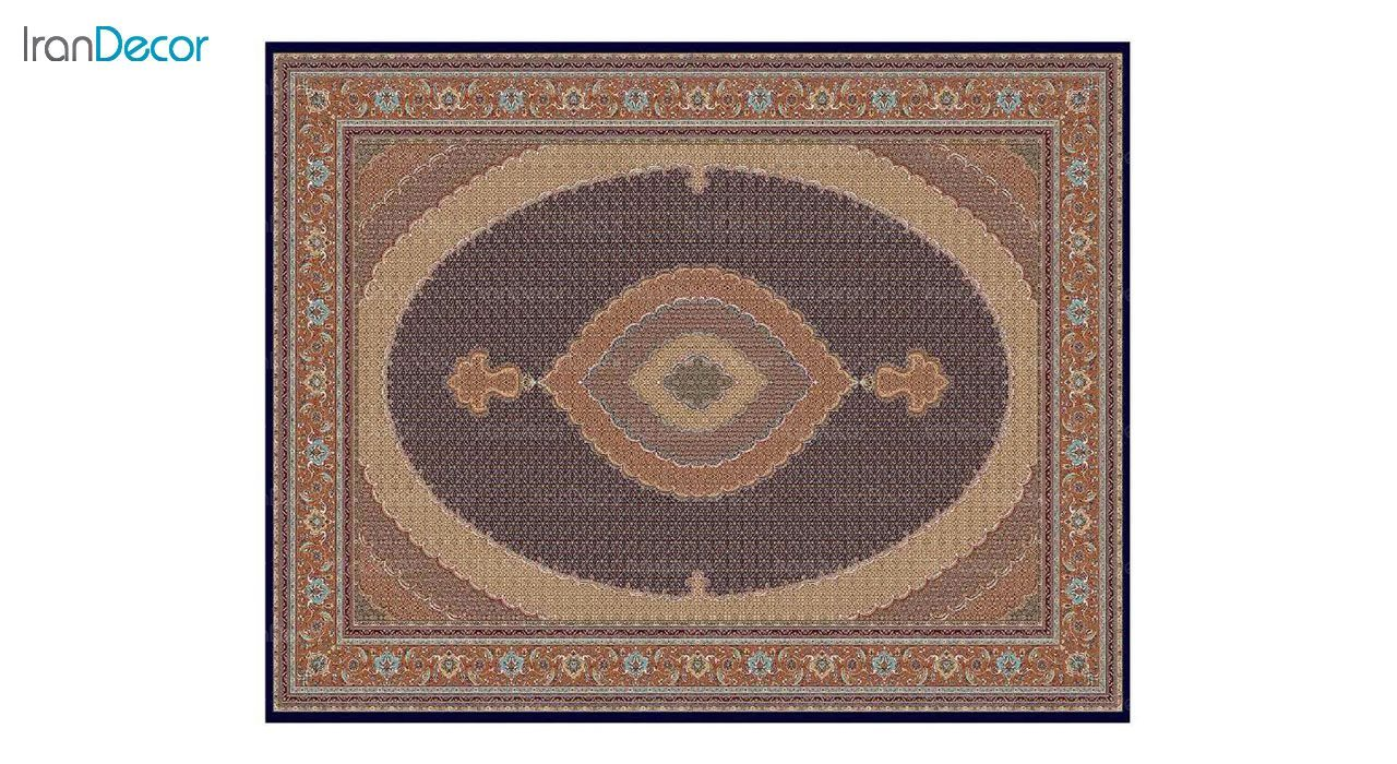 تصویر فرش ماشینی 700 شانه کشمیر طرح سلطان آبی صورتی