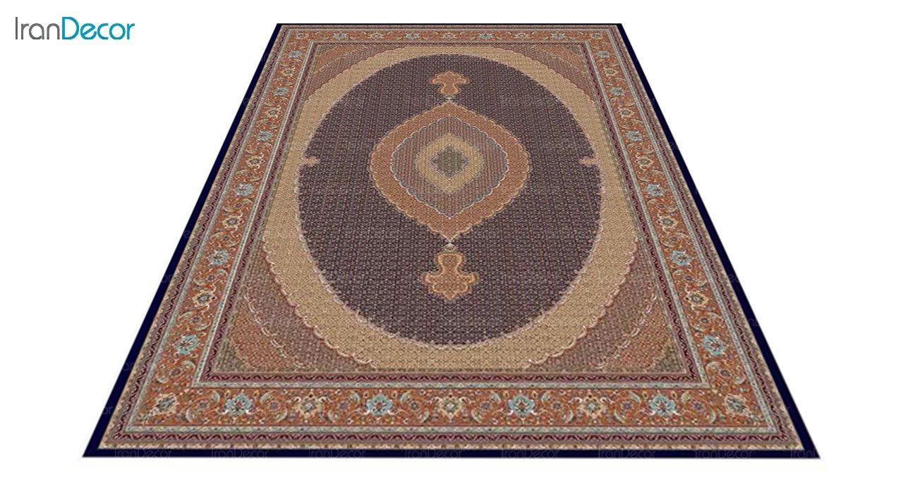 عکس فرش ماشینی 700 شانه کشمیر طرح سلطان آبی صورتی