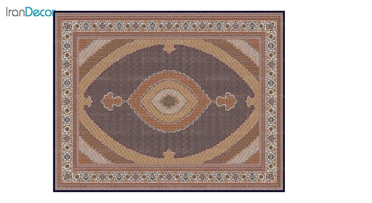 تصویر فرش ماشینی 700 شانه کشمیر طرح سلطان آبی بژ