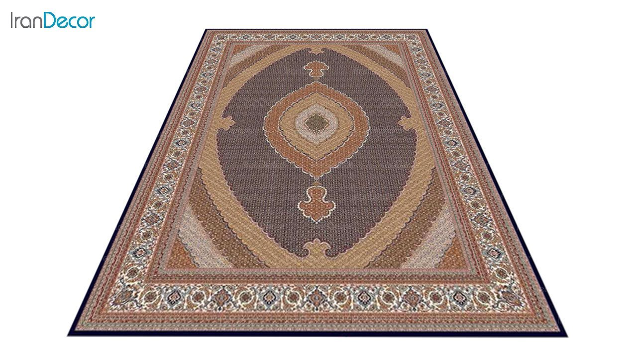 عکس فرش ماشینی 700 شانه کشمیر طرح سلطان آبی بژ
