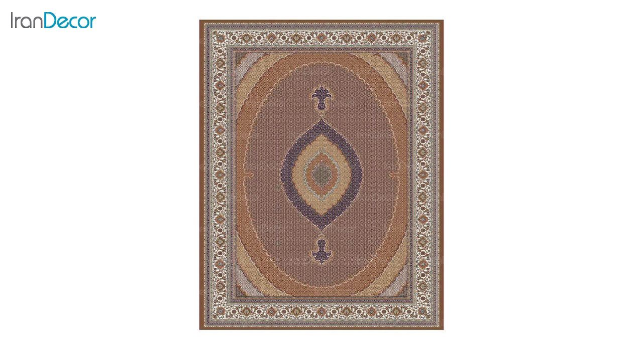 تصویر فرش ماشینی 700 شانه کشمیر طرح سلطان قهوه ای کرم