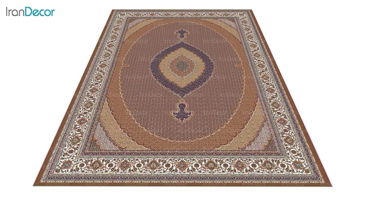 عکس فرش ماشینی 700 شانه کشمیر طرح سلطان قهوه ای کرم