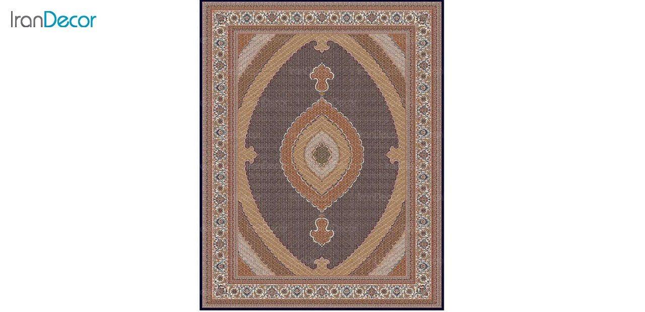 تصویر فرش ماشینی 700 شانه کشمیر طرح ریزماهی کشمیر مشکی