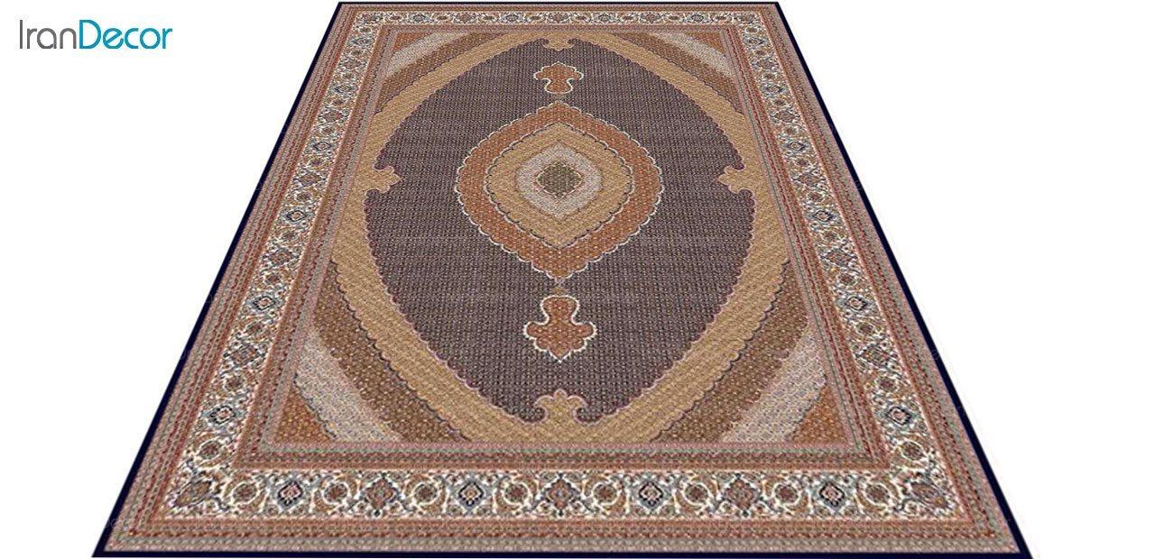 عکس فرش ماشینی 700 شانه کشمیر طرح ریزماهی کشمیر مشکی