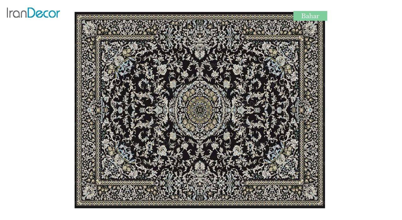 تصویر فرش ماشینی 700 شانه کشمیر طرح بهار مشکی