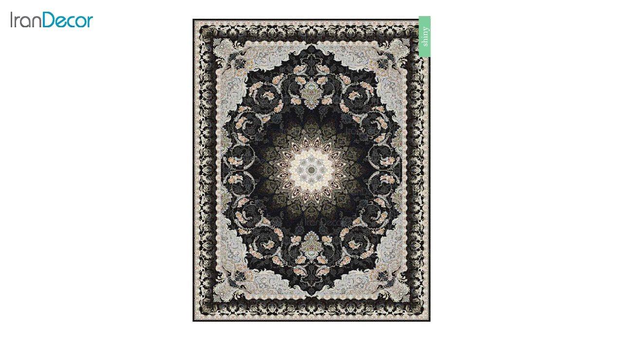 تصویر فرش ماشینی 700 شانه کشمیر طرح شاینی مشکی