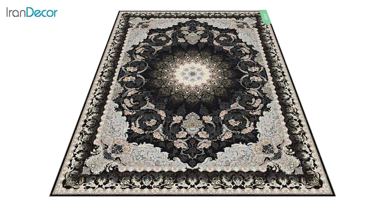عکس فرش ماشینی 700 شانه کشمیر طرح شاینی مشکی