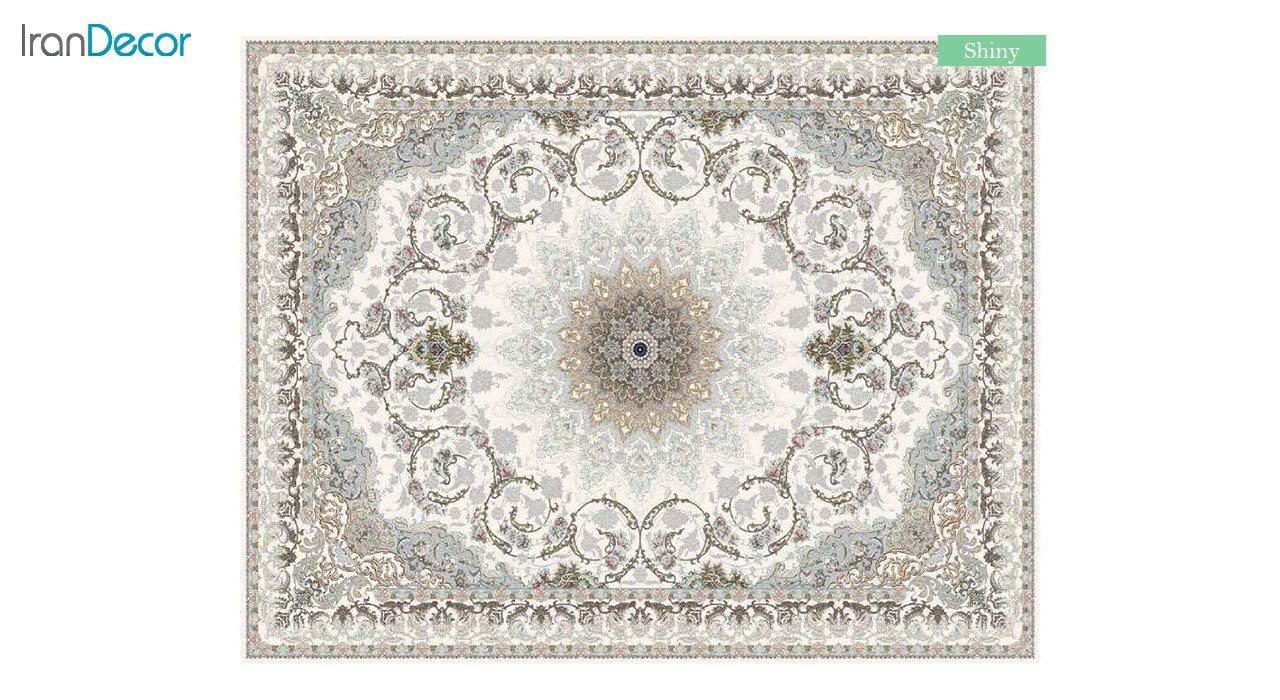 تصویر فرش ماشینی 700 شانه کشمیر طرح شاینی کرم