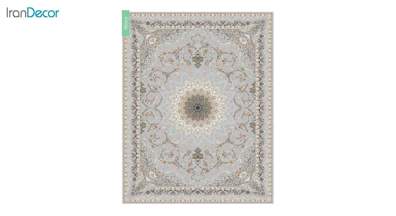 تصویر فرش ماشینی 700 شانه کشمیر طرح شاینی نقره ای
