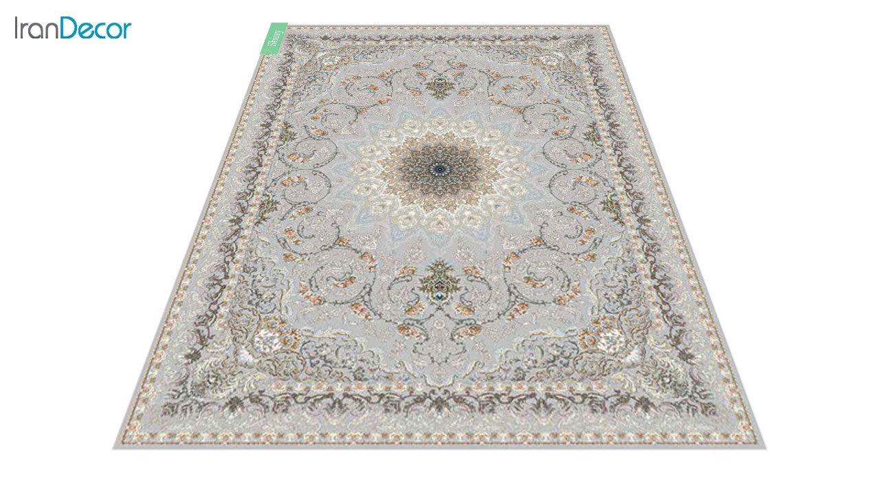 عکس فرش ماشینی 700 شانه کشمیر طرح شاینی نقره ای