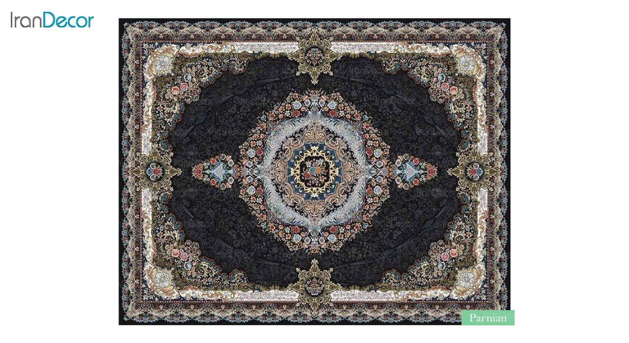 تصویر فرش ماشینی 700 شانه کشمیر طرح پرنیان مشکی