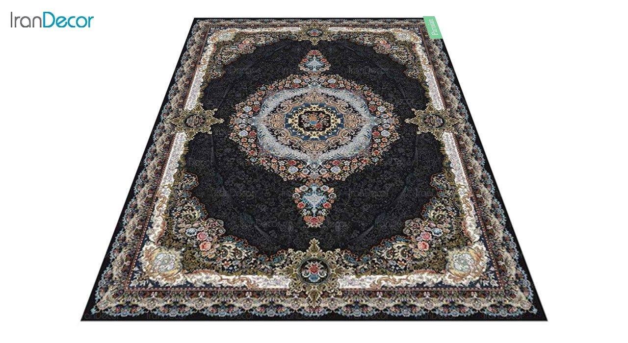 عکس فرش ماشینی 700 شانه کشمیر طرح پرنیان مشکی