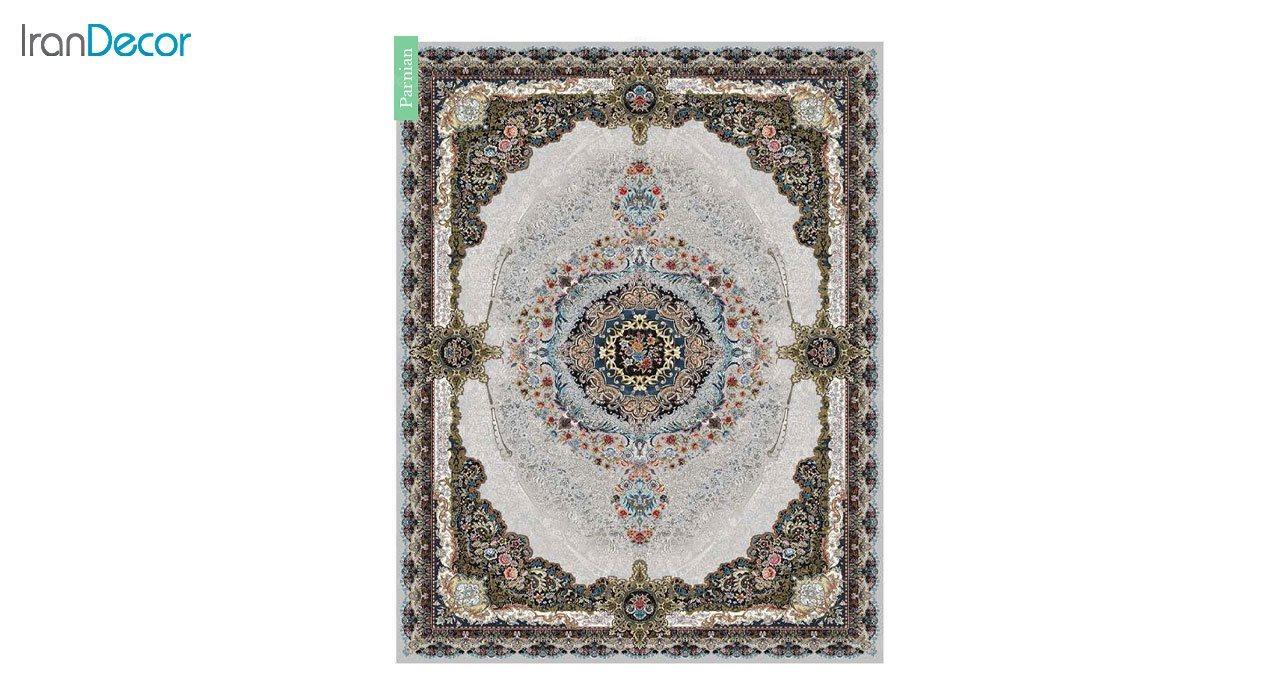 تصویر فرش ماشینی 700 شانه کشمیر طرح پرنیان نقره ای
