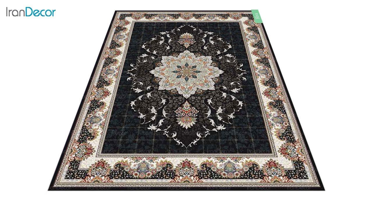 عکس فرش ماشینی 700 شانه کشمیر طرح هیوا مشکی