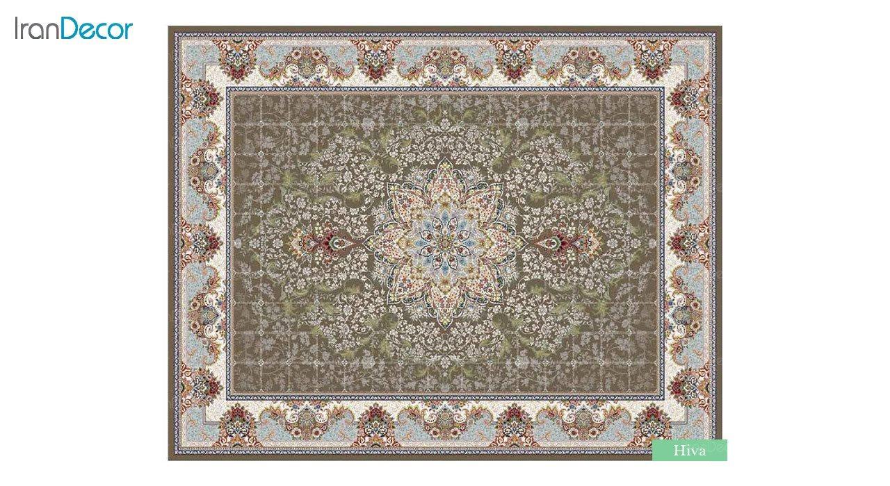 تصویر فرش ماشینی 700 شانه کشمیر طرح هیوا قهوه ای
