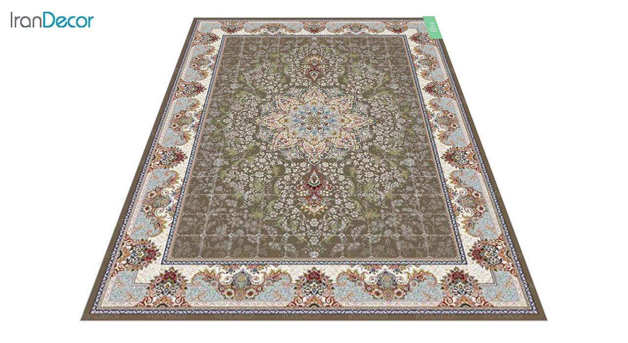 عکس فرش ماشینی 700 شانه کشمیر طرح هیوا قهوه ای