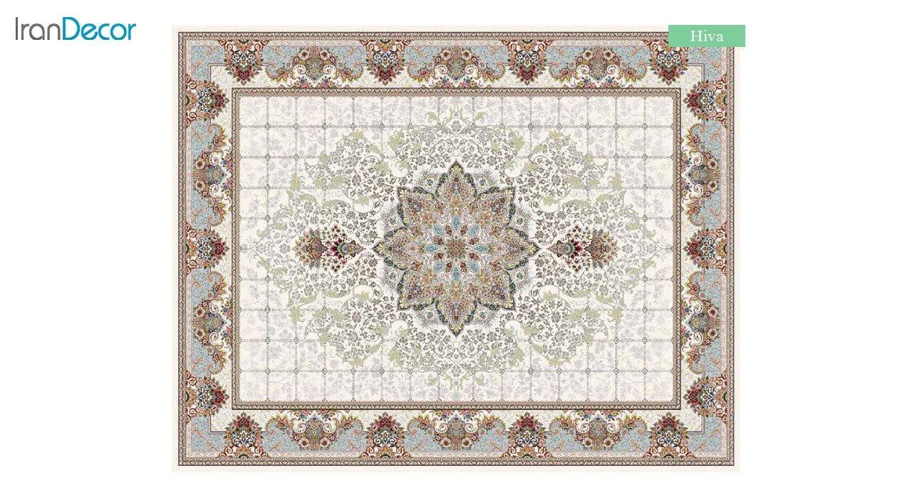 تصویر فرش ماشینی 700 شانه کشمیر طرح هیوا کرم
