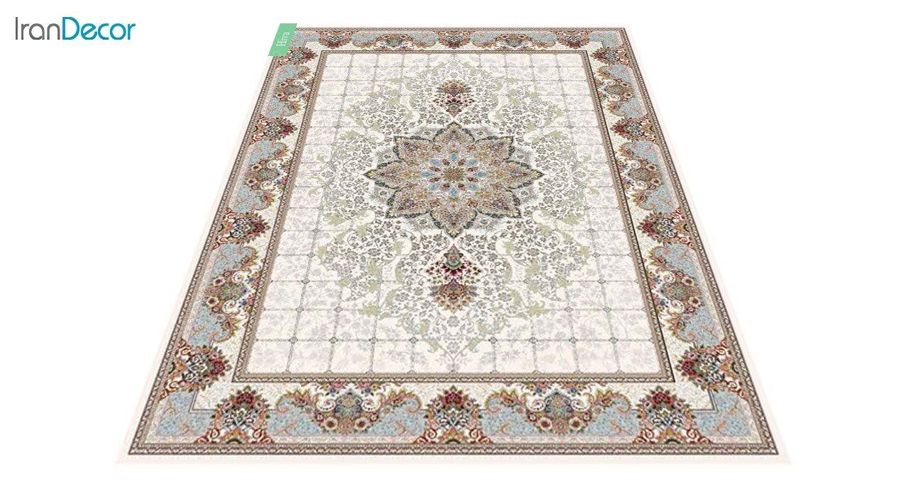 عکس فرش ماشینی 700 شانه کشمیر طرح هیوا کرم