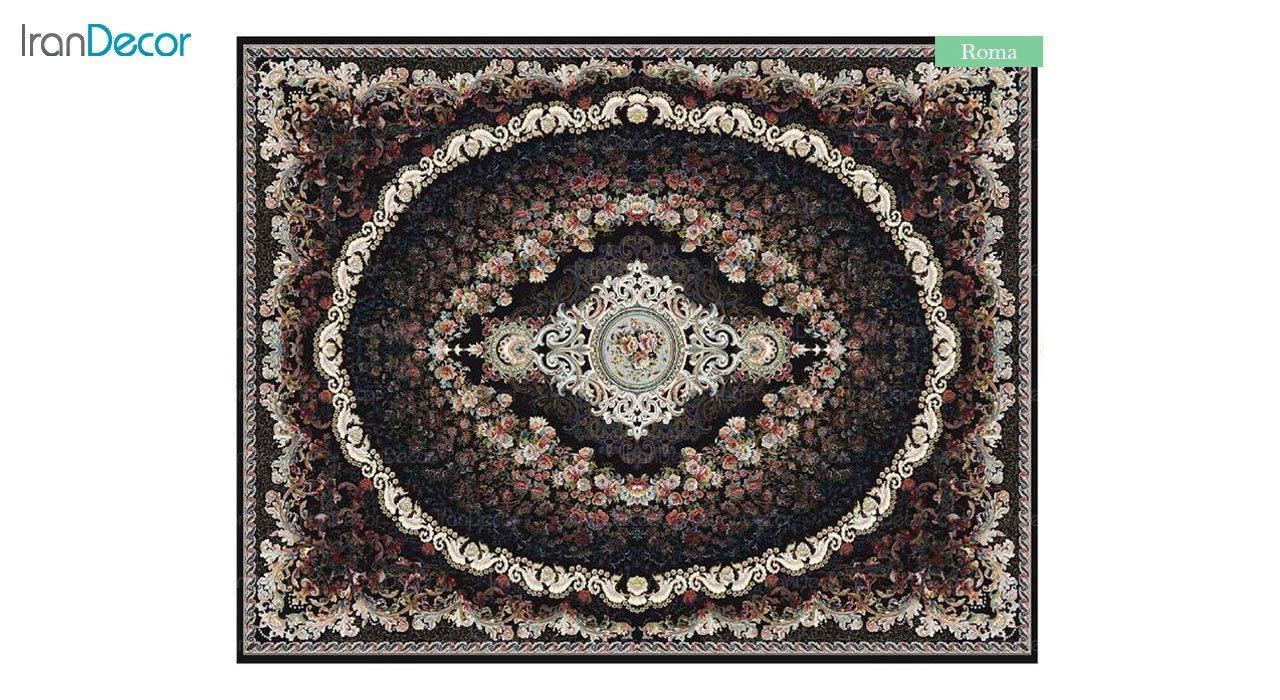 تصویر فرش ماشینی 700 شانه کشمیر طرح روما مشکی