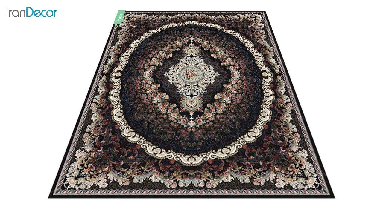 عکس فرش ماشینی 700 شانه کشمیر طرح روما مشکی