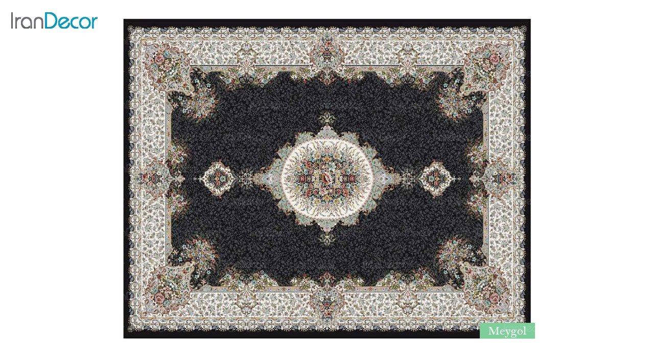 تصویر فرش ماشینی 700 شانه کشمیر طرح می گل مشکی