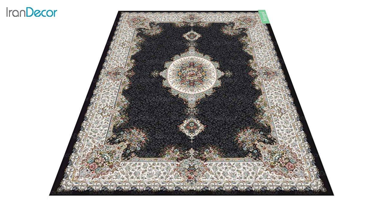 عکس فرش ماشینی 700 شانه کشمیر طرح می گل مشکی