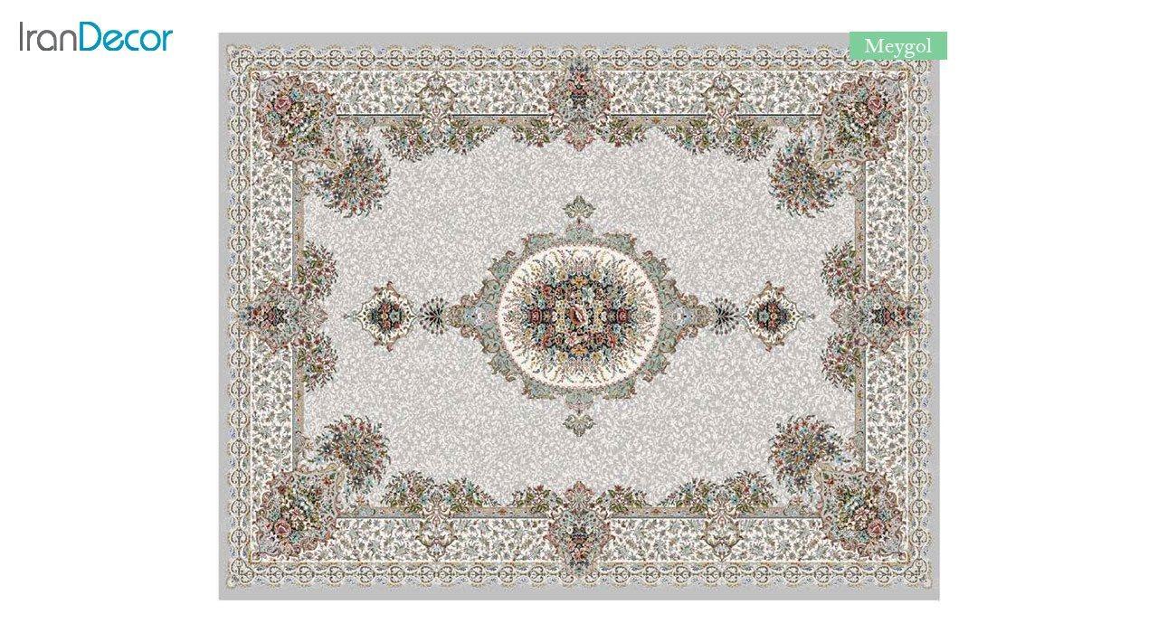 تصویر فرش ماشینی 700 شانه کشمیر طرح می گل نقره ای
