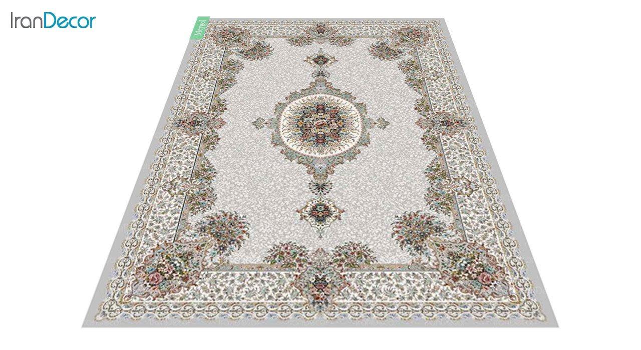 عکس فرش ماشینی 700 شانه کشمیر طرح می گل نقره ای
