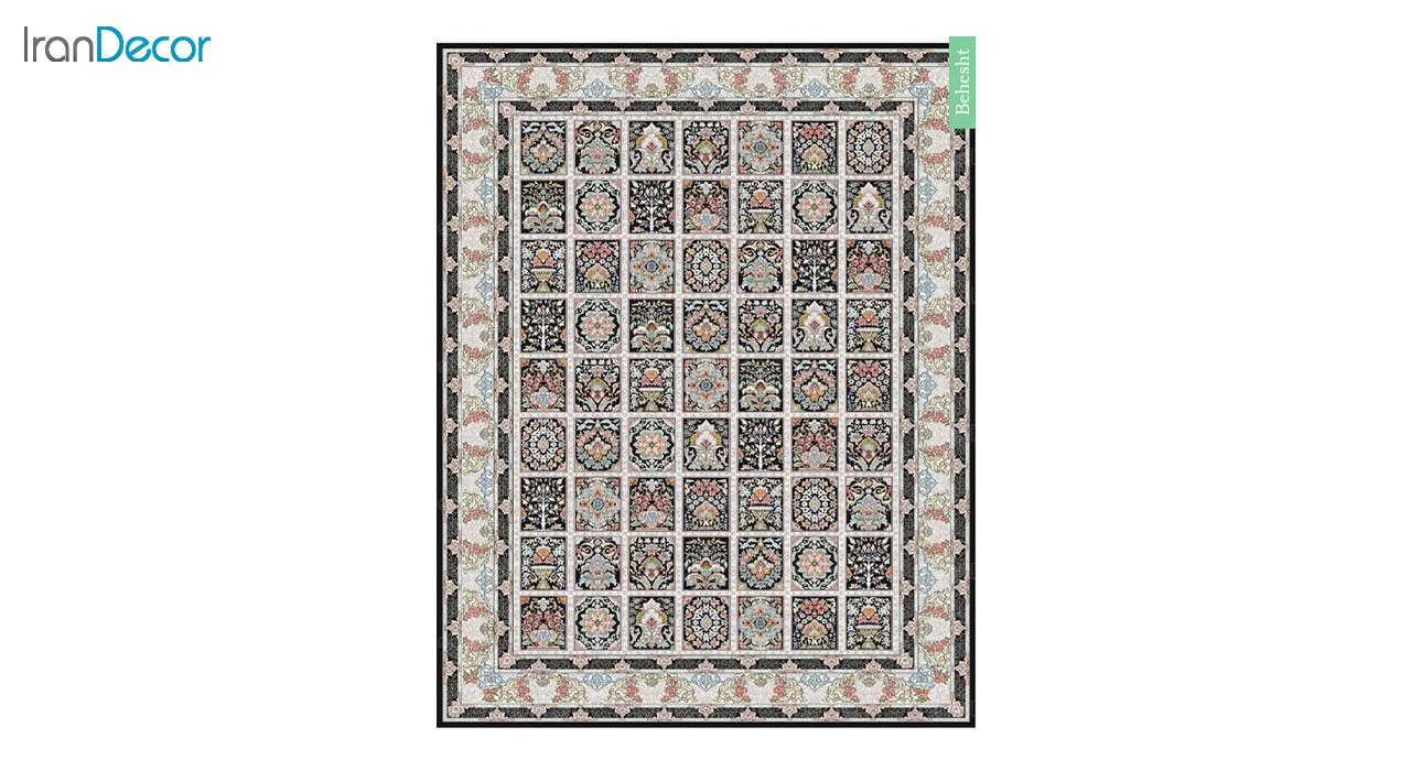 تصویر فرش ماشینی 700 شانه کشمیر طرح بهشت مشکی