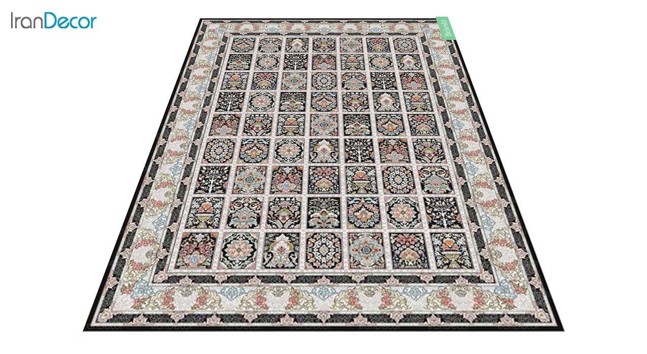عکس فرش ماشینی 700 شانه کشمیر طرح بهشت مشکی